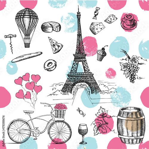 Zestaw ikon francuskich wyciągnąć rękę, Paris szkic ilustracji