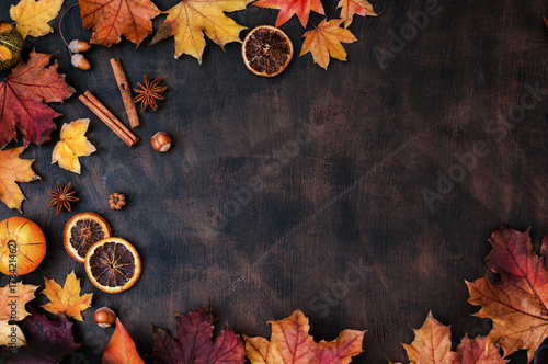 Autumn Background With Candied Oranges, Nuts and Spices