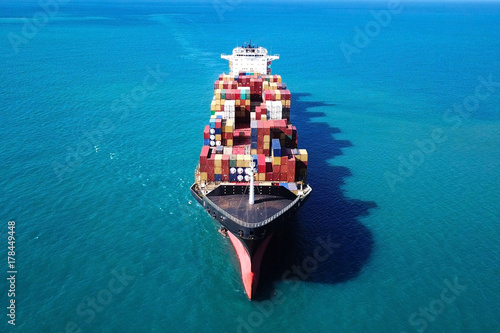 Canvas Print Ultra large container vessel (ULCV) at sea - Aerial image