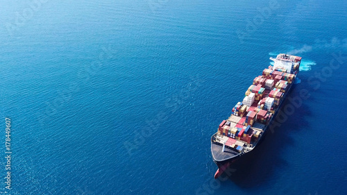 Photo Ultra large container vessel (ULCV) at sea - Aerial image