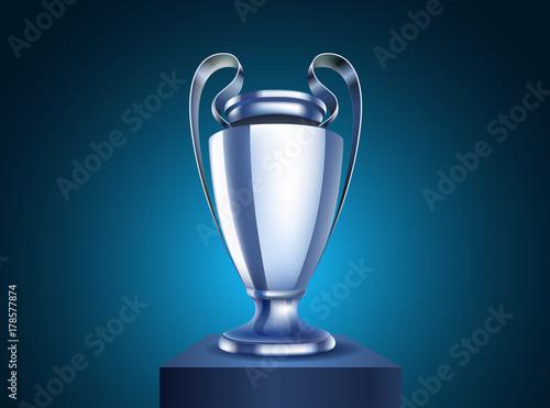 Fotografía Shining silver cup Vector illustration