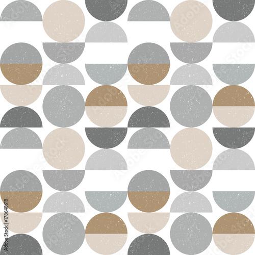 Plakat  z abstrakcyjnym geometrycznym wzorem z półkolami i okręgami w skandynawskim stylu retro