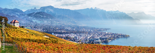 Wallpaper Mural View on Lavaux region by autumn day, Vaud, Switzerland