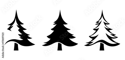 Leinwand Poster Vector set of black silhouettes of fir trees isolated on a white background