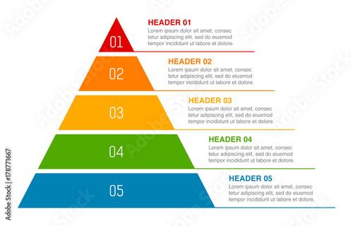 Fotografie, Obraz Triangle pyramid chart infographic flat vector diagram for presentations
