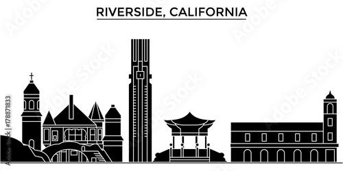 Usa, California , Riverside architecture skyline, buildings, silhouette, outline landscape, landmarks Fototapeta