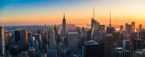 Aerial panoramic cityscape view of Manhattan, New York City at Sunset