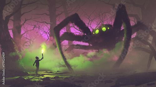 koncepcja ciemnej fantazji przedstawiająca chłopca z pochodnią w obliczu gigantycznego pająka w tajemniczym lesie, styl sztuki cyfrowej, malarstwo ilustracyjne