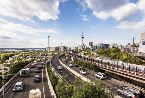 Traffic jam on Auckland highways in New Zealand