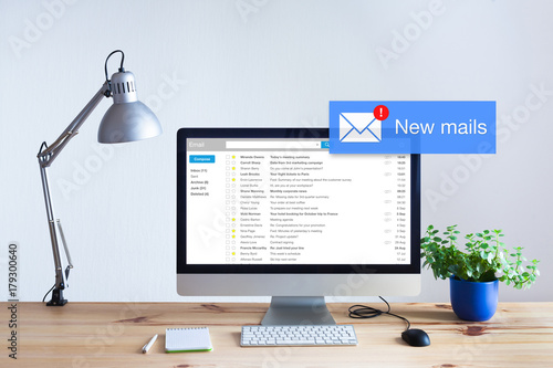 Receiving email in inbox concept, popup mail notification on computer screen