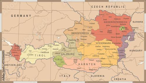 Fotografia Austria Map - Vintage Vector Illustration