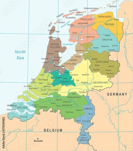 Canvas Print Netherlands Map - Vector Illustration