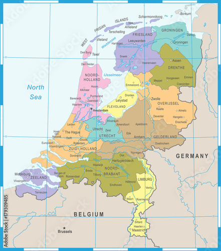 Photo Netherlands Map - Vector Illustration