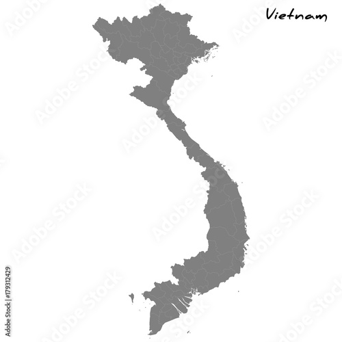 Canvas Print High quality map Vietnam with borders of the regions