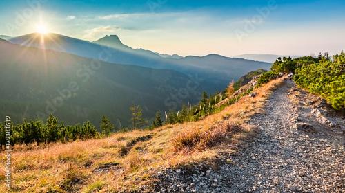 Stunning sunset in Tatra mountains from the ridge in autumn