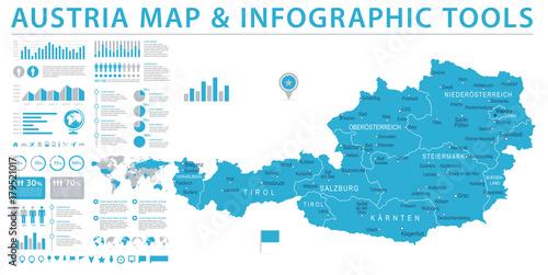 Wallpaper Mural Austria Map - Info Graphic Vector Illustration
