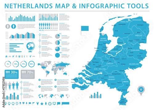Wallpaper Mural Netherlands Map - Info Graphic Vector Illustration