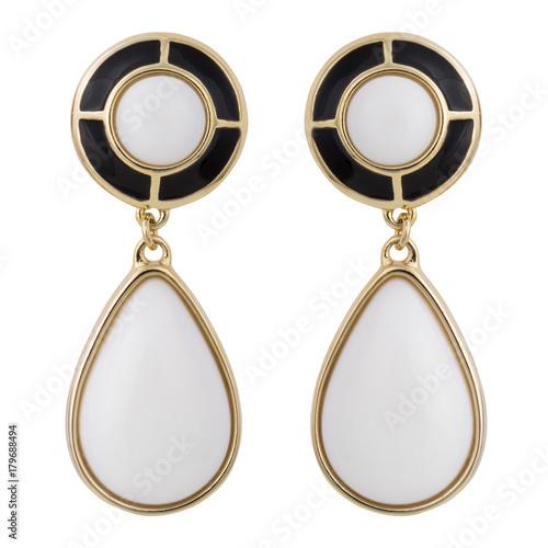 Canvastavla Golden earrings with gemstone isolated on white background