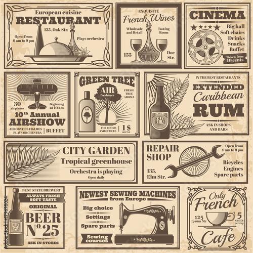 Retro newspaper advertising banners design vector template
