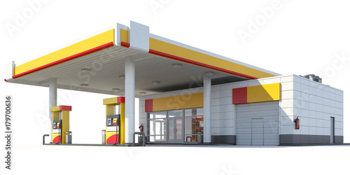Fotografia 3d Rendering of a Gas station isolated on white background
