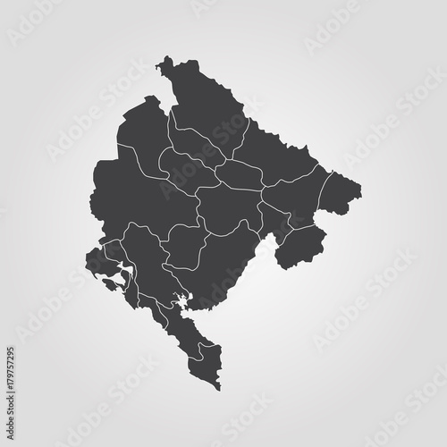 Canvas Print Map of Montenegro