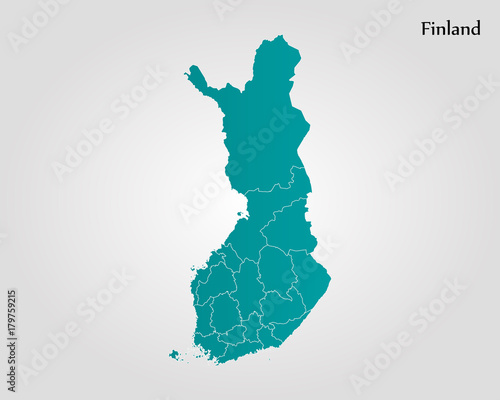 Canvas Print Map of Finland