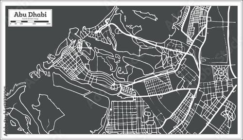 Fotografie, Obraz Abu Dhabi UAE Map in Retro Style.