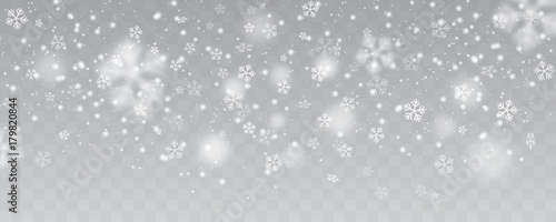 Fotografie, Obraz Vector heavy snowfall, snowflakes in different shapes and forms