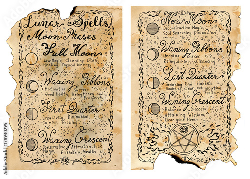 Photo Worn pages of old book with magic spells