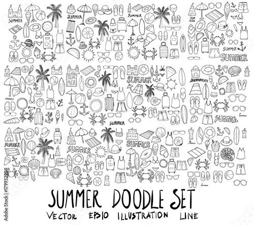 Foto Set of Summer illustration Hand drawn doodle Sketch line vector eps10