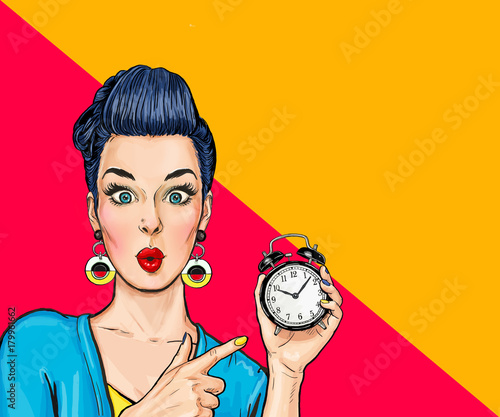 Surprised comic woman with clock. Party invitation. Birthday card. Hollywood, Housewife, shopping, deadline, sale, wow, too late, no, oops, sexy, pop, adult, young,  money, love, cosmetics, stylish