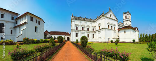 Catedral de Santa Catarina, known as SE Cathedral and Archbishop's Palace in Old Goa, India. The view from the road to the courtyard