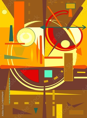 Abstract  orange  background ,fancy  geometric and curved shapes , expressionism art style