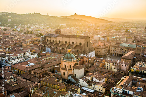 Fototapeta Aerial view of Bologna, Italy at sunset