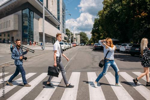 Obraz na płótnie leisure crosswalk urban fashion youth lifestyle concept