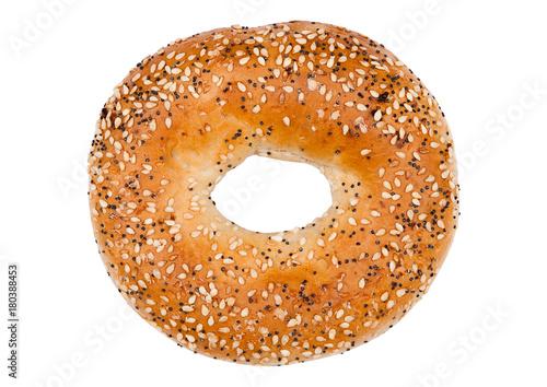 Fresh breakfast bread bagel roll isolated on white