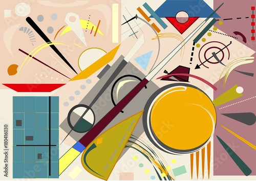 Abstract  beige  background ,fancy  geometric and curved colorful shapes , expressionism art style