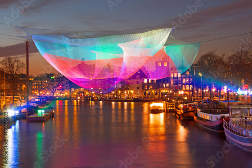 Amsterdam light festival on the river Amstel in Amsterdam Netherlands