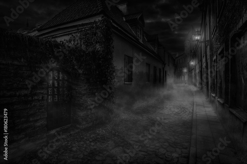 Fotografia, Obraz Nighty foggy lane