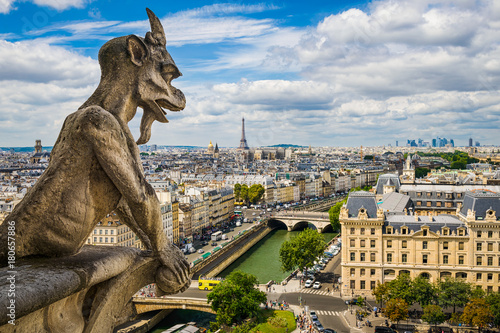 Gargoyle on Notre Dame with skyline of Paris Fototapeta