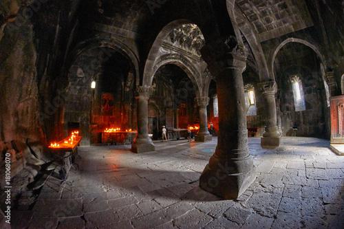 Photo GEGHARD MONASTERY, ARMENIA - AUGUST 04, 2017: Geghard Monastery Mystic Interiors