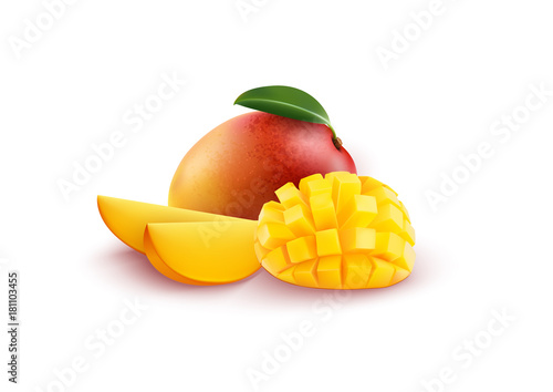 Wallpaper Mural Ripe fresh mango with slices and leaves