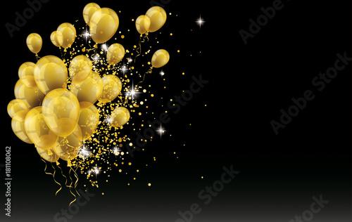Fotografering Golden Balloons Golden Particles Confetti Black Background