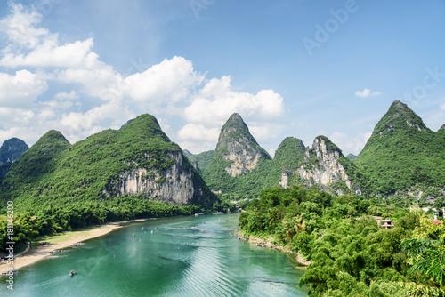 Fotografie, Obraz Scenic summer sunny landscape at Yangshuo County, Guilin, China