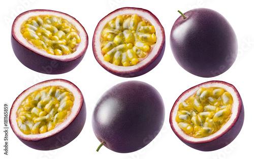 Passion fruit set isolated on white background