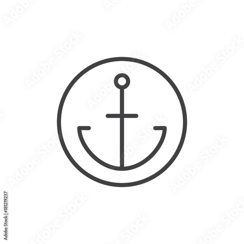 Fényképezés Anchor in a circle line icon, outline vector sign, linear style pictogram isolated on white
