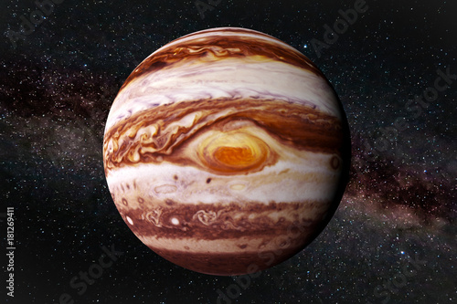 Fototapeta planet Jupiter and the stars of the Milky Way galaxy