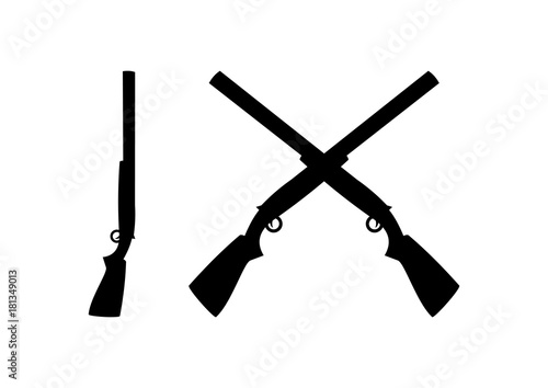 Obraz na płótnie Black Shotguns Cross Illustration Logo Silhouette