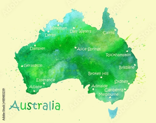 Wallpaper Mural Hand drawn watercolor map of Australia isolated on white