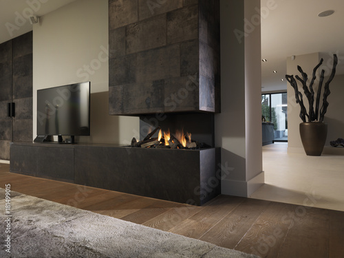 Leinwand Poster modern living room interior with fireplace